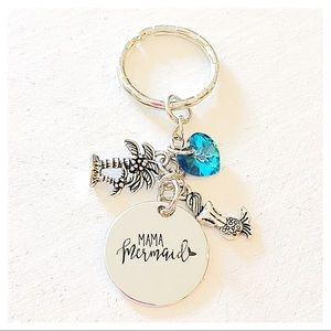 ✨3 for $30✨ Mama Mermaid 🧜‍♀️ Silver Keychain